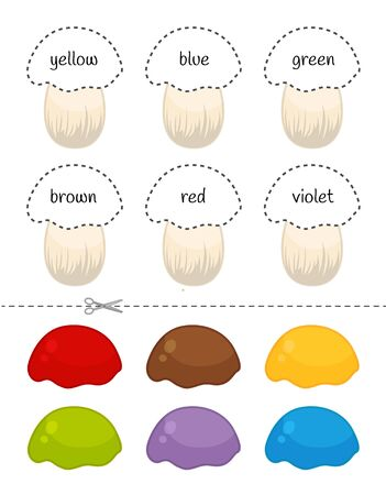 Educational  game for children. Cut and glue on the right place. Material for kids to learn color. Cartoon mushrooms. Stock Illustratie