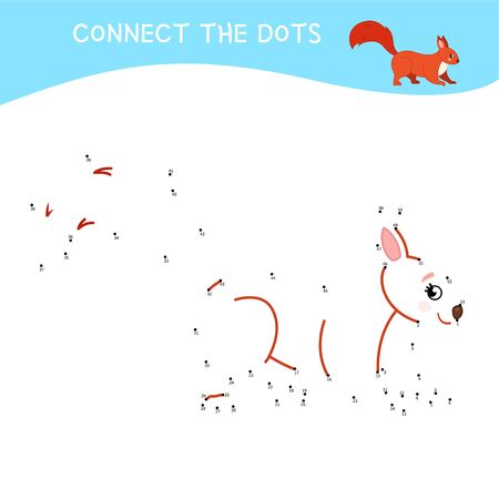 Educational game for kids. Dot to dot game for children. Cartoon cute squirrel. Forest animals.