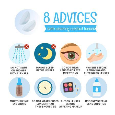 Mémo vectoriel 8 conseils pour porter des lentilles de contact en toute sécurité. Concept de santé oculaire. Vecteurs