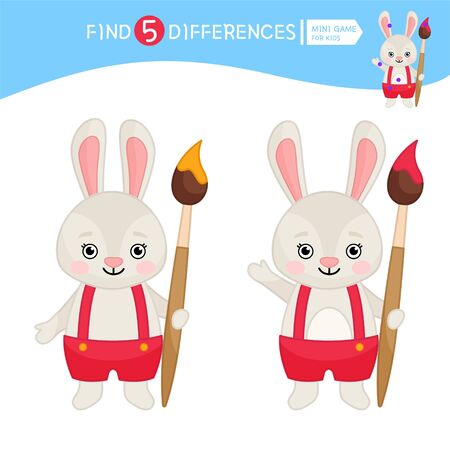 Find differences.  Educational game for children. Cartoon vector illustration of cute rabbit with brush. Stock Illustratie