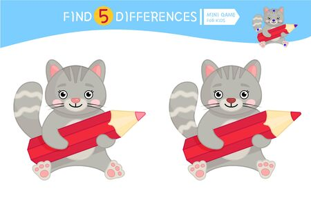 Find differences.  Educational game for children. Cartoon vector illustration of cute kitten with pencil.