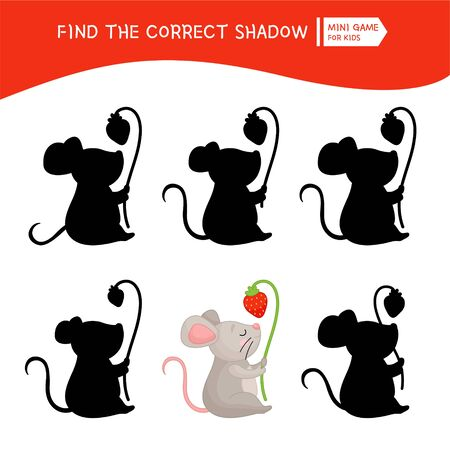 Educational  game for children. Find the right shadow. Kids activity with cute mouse with strawberry.