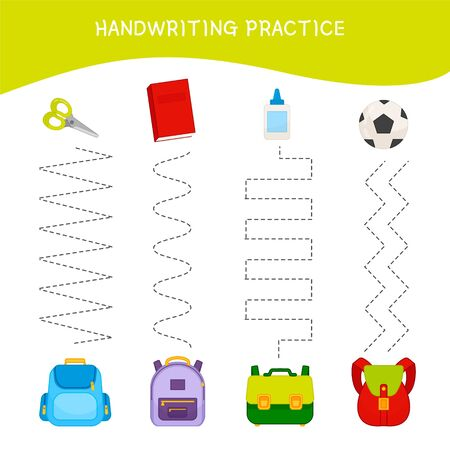 Handwriting practice sheet. Basic writing. Educational game for children. Match of stationery and backpacks.