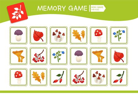 Memory game for preschool children, vector cards with  nature elements. Find two identical picture. Kids activity page for book.  Ilustração