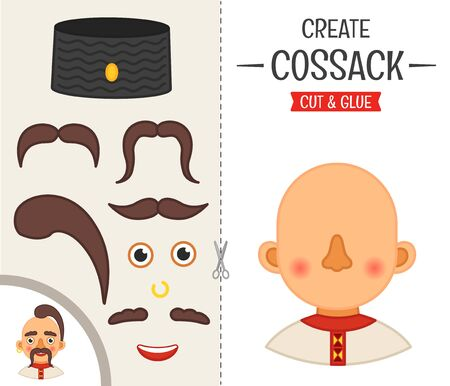 Education paper game for preshool children. Vector illustration.cartoon cute Cossack. Ilustração
