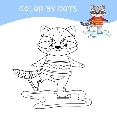 Educational game for kids. Dot to dot game for children. Cartoon cute raccoon skates. Иллюстрация
