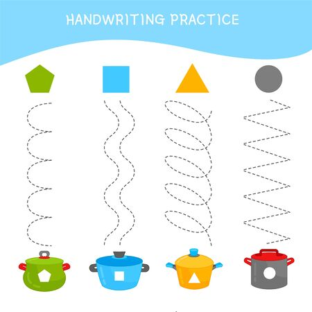 Handwriting practice sheet. Basic writing. Educational game for children. Match of geometric shapes and pans.