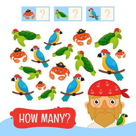 Zählen pädagogisches Kinderspiel, Mathe-Kinderaktivitätsblatt. Wie viele Objekte Aufgabe. Piraten-Sammlung. Karikaturillustration des netten Piraten.