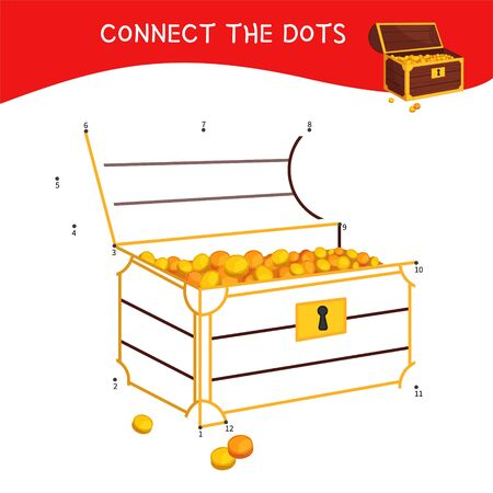 Educational game for kids. Dot to dot game for children. Pirate collection. Cartoon wooden treasure chest.