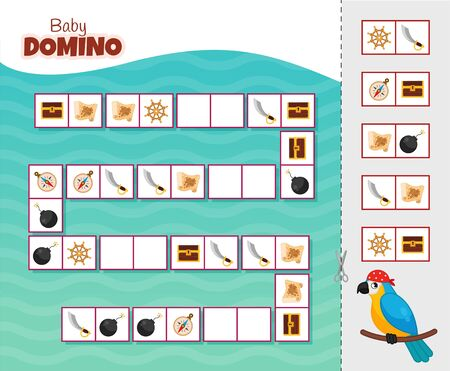 Activity for pre s�hool years kids and toddlers. Educational children game. Baby domino. Cartoon cute pirate parrot. Stock Illustratie