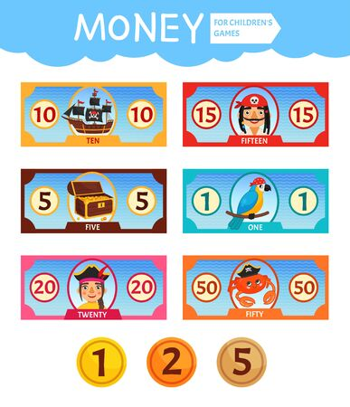 Vector set of paper money for childrens games. Pirate collection. Learning material for kids. Ilustração