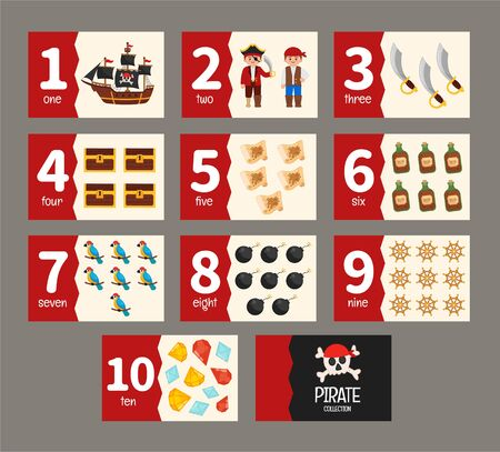 Kids learning material. Card for learning numbers. Number 1-10.  Pirate collection.