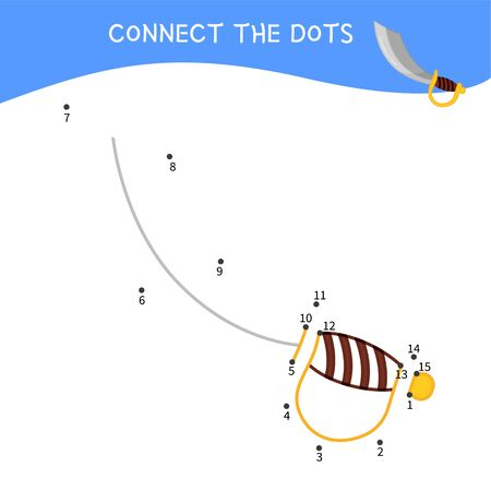 Educational game for kids. Dot to dot game for children. Pirate collection. Cartoon pirate saber. Ilustração