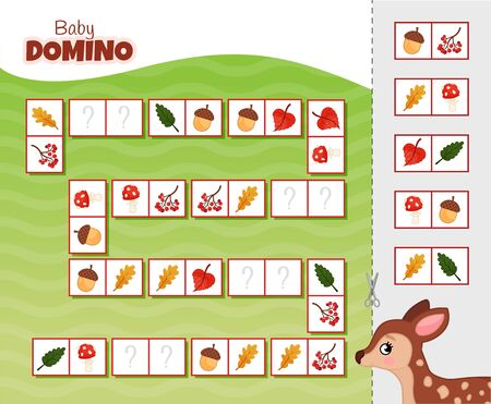 Activity for pre s�hool years kids and toddlers. Educational children game. Baby domino. Cartoon cute fawn. Stock Illustratie