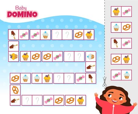 Activity for pre sсhool years kids and toddlers. Educational children game. Baby domino. Cartoon cute girl.