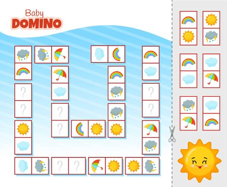 Activity for pre sсhool years kids and toddlers. Educational children game. Baby domino. Cartoon cute sun.