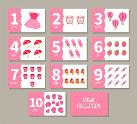 Kids learning material. Card for learning numbers. Number 1-10.  Pink collection