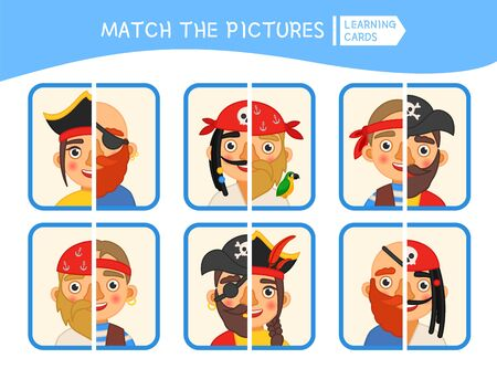Matching children educational game. Match parts of  pirates .Activity for pre sсhool years kids and toddlers. Ilustrace
