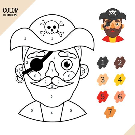 Coloring book for children. Cartoon illustration of cute pirate.
