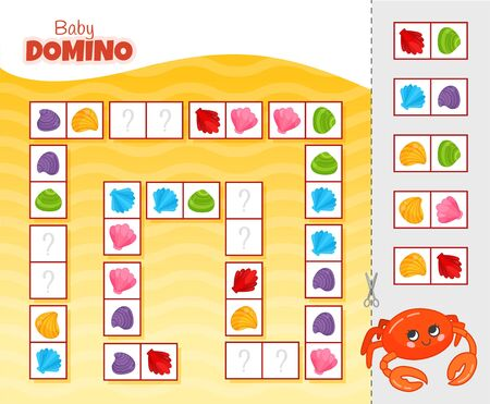 Activity for pre s�hool years kids and toddlers. Educational children game. Baby domino. Cartoon cute crab. Stock Illustratie