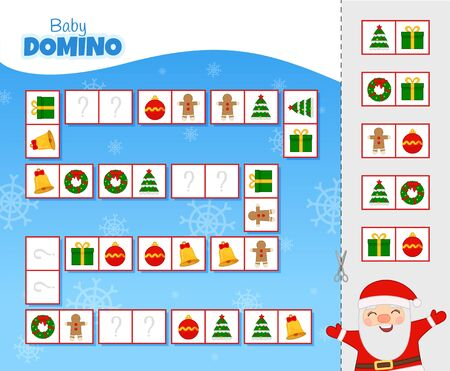 Activity for pre sÑ�hool years kids and toddlers. Educational children game. Baby domino. Cartoon cute santa.  Ilustração