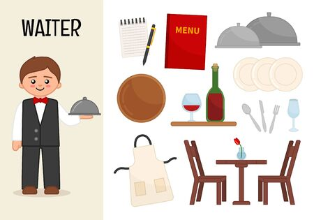Vector character waiter. Illustrations of waiter equipment. Set of cartoon professions.