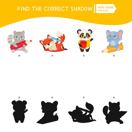 Educational  game for children. Find the right shadow. Kids activity with cartoon cute animals.