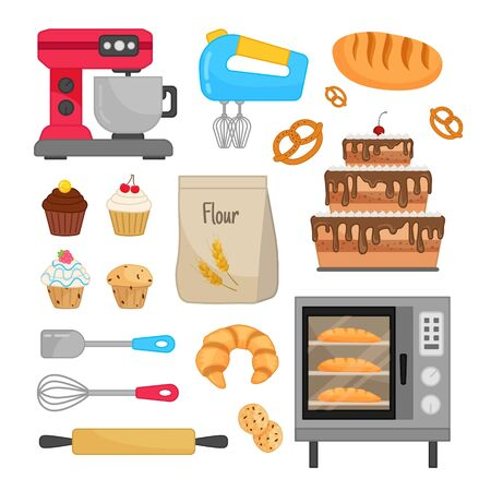 Vector set of baking equipment. Home bakery. Illustration of cakes, cupcakes, bread and other pastries.