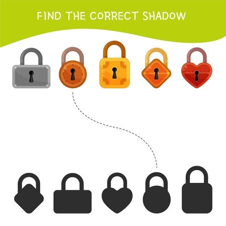 Educational  game for children. Find the right shadow. Kids activity with cartoon locks. Stock Illustratie