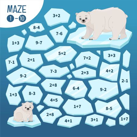 Maze game for children.  Help mom bear find a teddy bear.