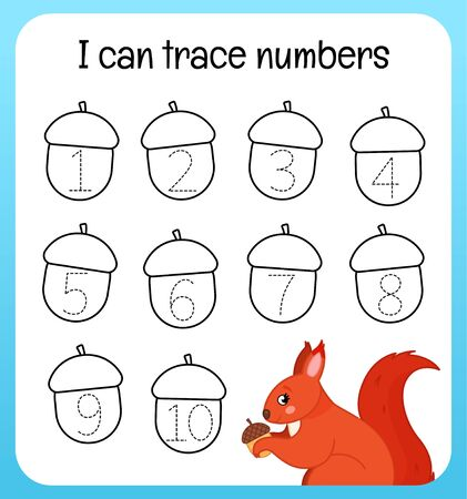 Handwriting practice sheet. Learning numbers 1-10. Educational game for children. Cartoon cute squirrel.
