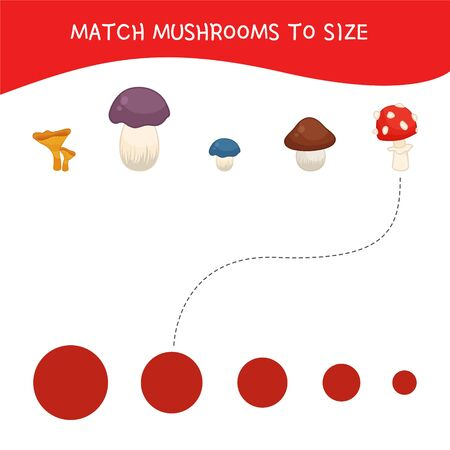 Matching children educational game. Match of mushrooms by sizes. Activity for pre sсhool years kids and toddlers. Ilustrace