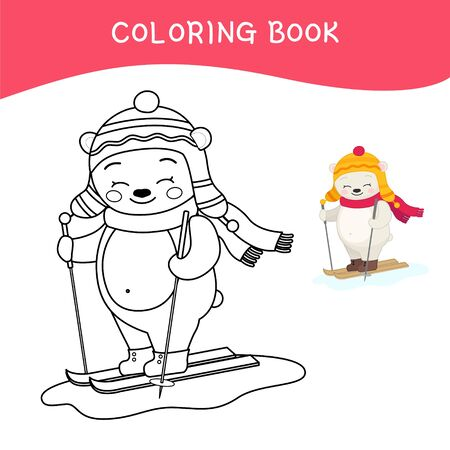 Coloring book for children.Cartoon polar bear is skiing. Winter collection.
