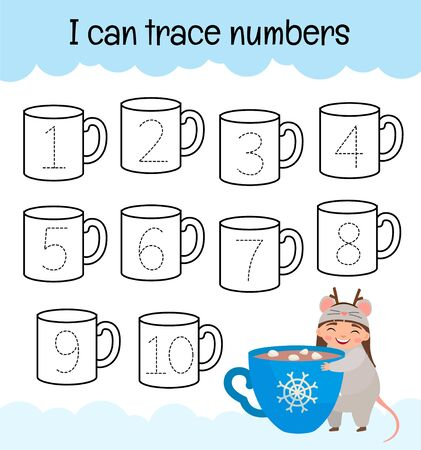Handwriting practice sheet. Learning numbers 1-10. Educational game for children. Cute girl with cup of coffee. Stock Illustratie