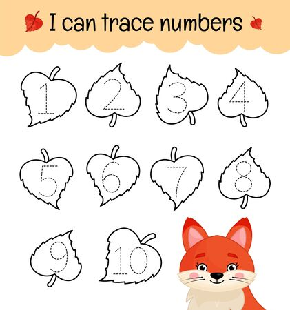 Handwriting practice sheet. Learning numbers 1-10. Educational game for children. Cartoon cute fox. Stock Illustratie