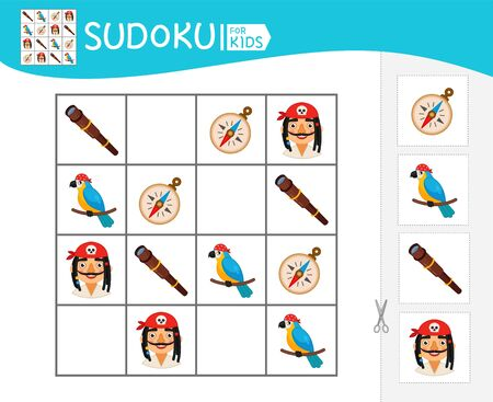 Sudoku game for children with pictures. Kids activity sheet. Pirate collection.