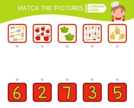 Counting educational children game, math kids activity sheet.  Match the pictures.