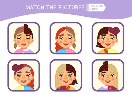 Matching children educational game. Match parts of faces of girls. Activity for pre sсhool years kids and toddlers.
