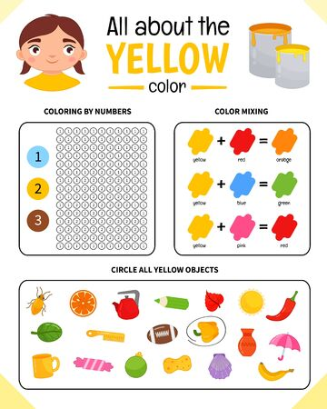 Kids learning material. Worksheet for learning colors. Yellow color. Illustration