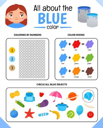 Kids learning material. Worksheet for learning colors. Blue color.