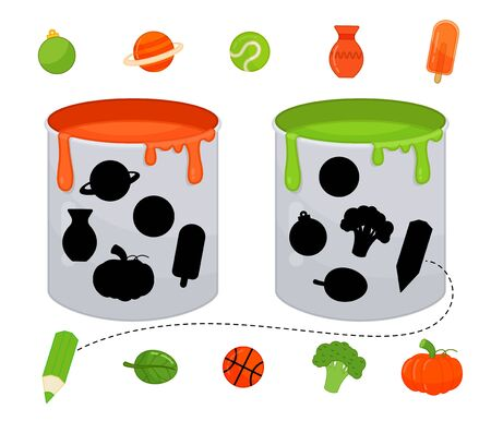 Matching children educational game. Match objects and paint cans by color. Activity for pre s�hool years kids and toddlers.