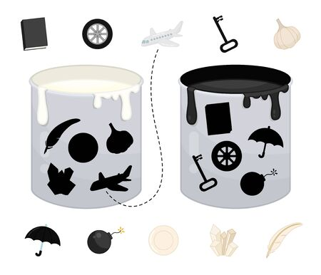 Matching children educational game. Match objects and paint cans by color. Activity for pre sсhool years kids and toddlers.