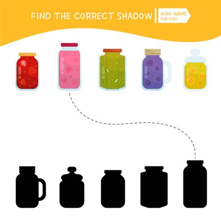 Educational  game for children. Find the right shadow. Kids activity with fruit jam