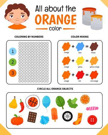 Kids learning material. Worksheet for learning colors. Orange color.