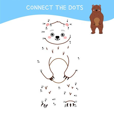 Educational game for kids. Dot to dot game for children. Forest animals collection. Cartoon cute bear.