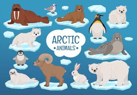 Vector set schattige arctische dieren. Vector Illustratie