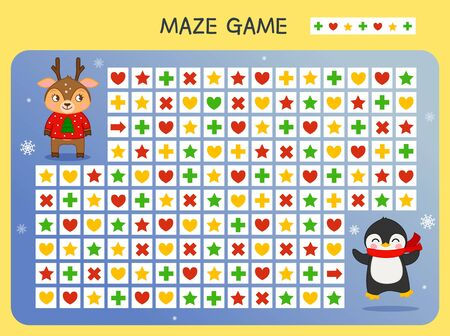 Maze game for children. Find the correct path by the pattern. Cartoon cute animals. Ilustração