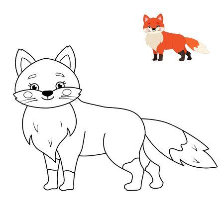 Coloring book for children. Forest animals collection. Cartoon cute fox. Ilustração