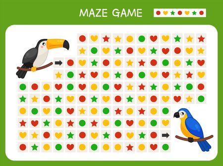 Maze game for children. Find the correct path by the pattern. Cartoon cute birds.