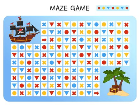 Maze game for children. Find the correct path by the pattern. Cartoon pirate ship.